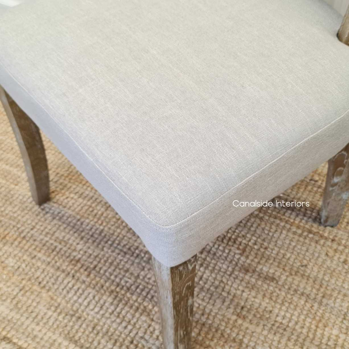 Mimi Dining Chair Cream upholstery weathered oak legs base, CHAIRS, HAMPTONS Style, PLANTATION Style, CHAIRS Dining Manny Dining Chair