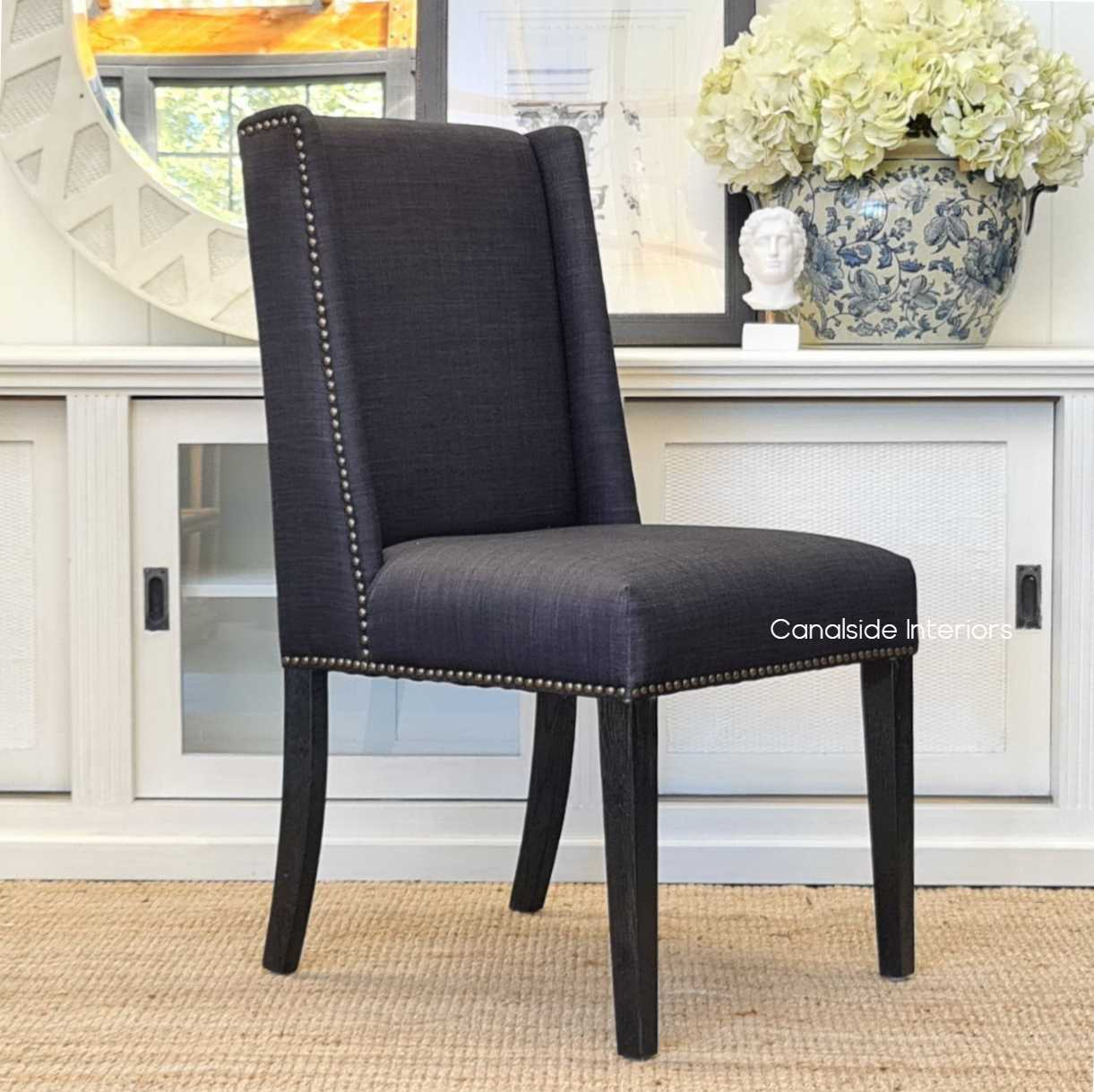 Leclerc Dining Chair Black charcoal upholstery black legs base, CHAIRS, HAMPTONS Style, PLANTATION Style, CHAIRS Dining, kitchen, dining room, winged