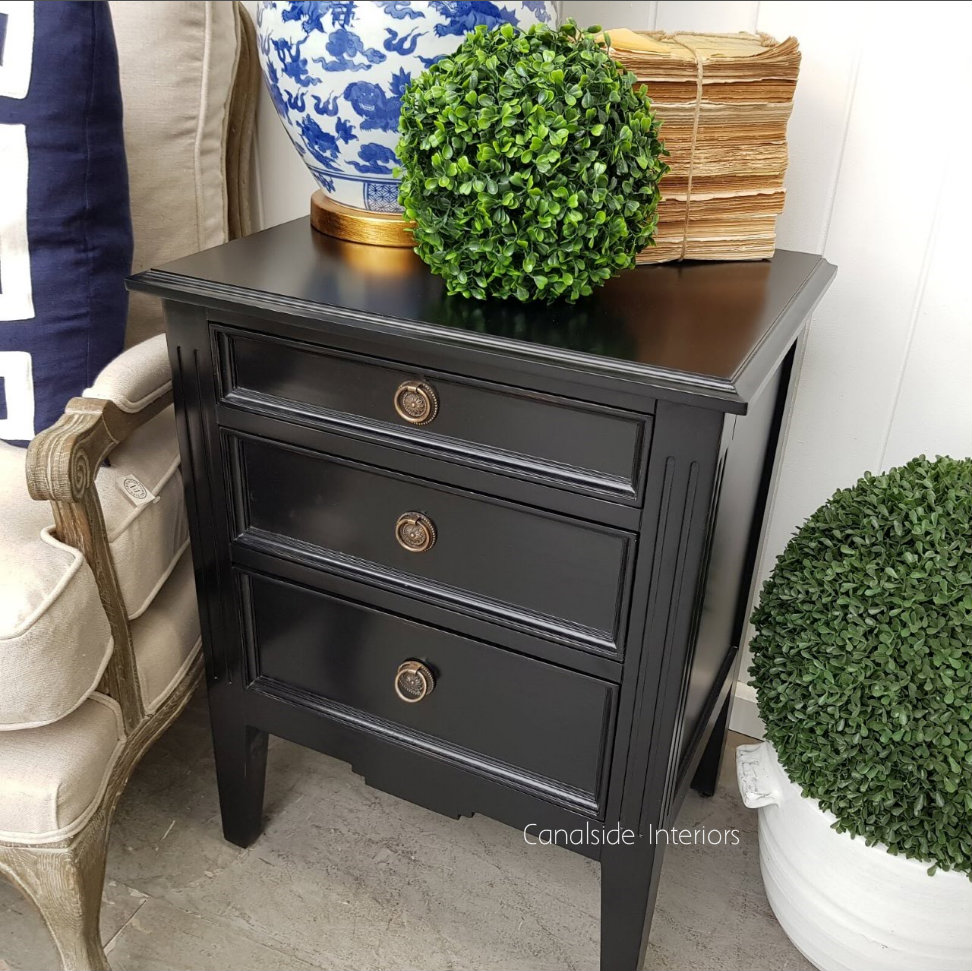 Peninsula Bedside Distressed Black  BEDROOM, Commodes, Chests, Bookcases & Storage, HAMPTONS Style, PLANTATION Style, TABLES Side Tables, LIVING Coffee & Side Tables, BEDROOM Bedsides