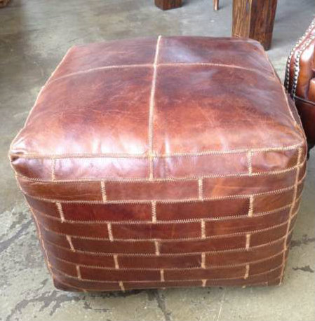 Foxtrot Aged Leather Ottoman Pouf