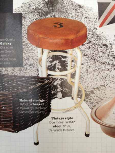 Canalside Interiors' Doe Industrial Stool Image C/- Real Living Magazine