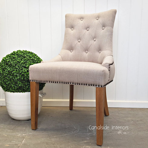 Bennet Button Back Upholstered Dining Chair Cream  FRENCH  FURNITURE, CHAIRS, HAMPTONS Style, PLANTATION Style, CHAIRS Dining, CHAIRS Lounge, LIVING Room, LIVING Chairs