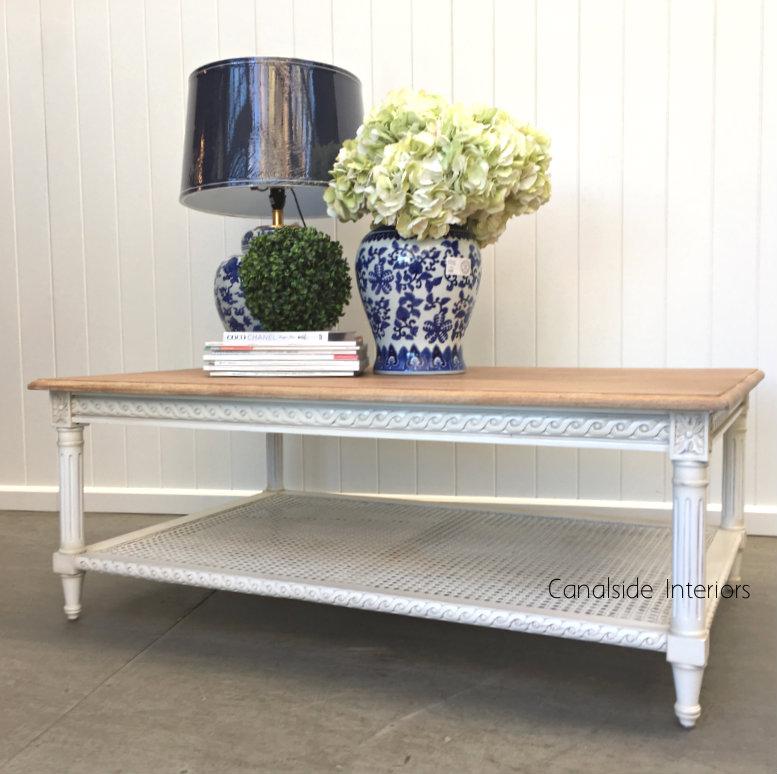 Hamptons Rattan Coffee Table White Limewash Top Canalside Interiors