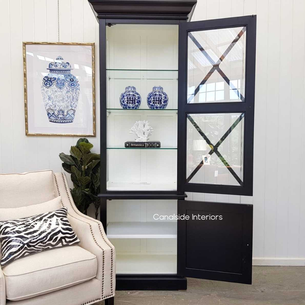 South Hamptons 1 Door Display Unit Black with White Interior Contact for  HAMPTONS Style, PLANTATION Style, LIVING Room, LIVING Cupboards & Bookcases, STORAGE, STORAGE Bookshelves & Cupboards