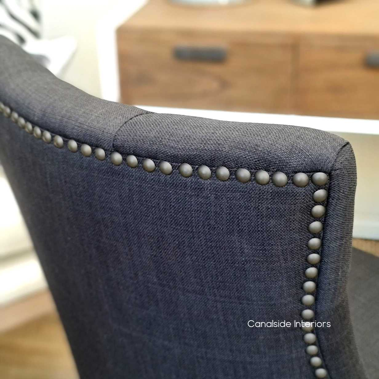 Bennet Button Back Upholstered Dining Chair Black Charcoal  FRENCH  FURNITURE, CHAIRS, HAMPTONS Style, PLANTATION Style, CHAIRS Dining