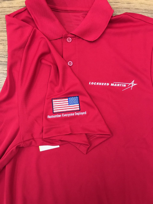 "Ladies ""Remember Everyone Deployed"" Red Long Sleeve Polo"