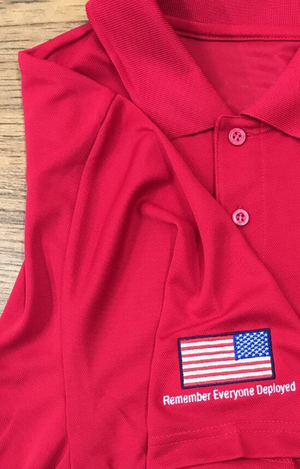 "Sikorsky Ladies ""Remember Everyone Deployed"" Red Polo"