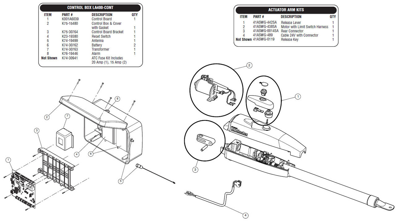 Liftmaster LA400 Parts Breakdown Diagram - GateHouseSupplies com