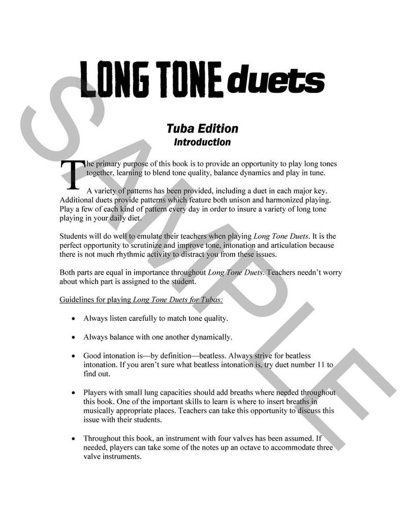 Long Tone Duets for Tuba