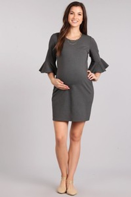 Solid, mini maternity dress in a bodycon fit, with a round neck, and 3/4 bell sleeves.  Origin : USA