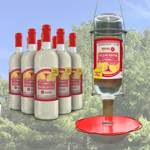 9 Bottles of RTU & Hummingbird Feeder