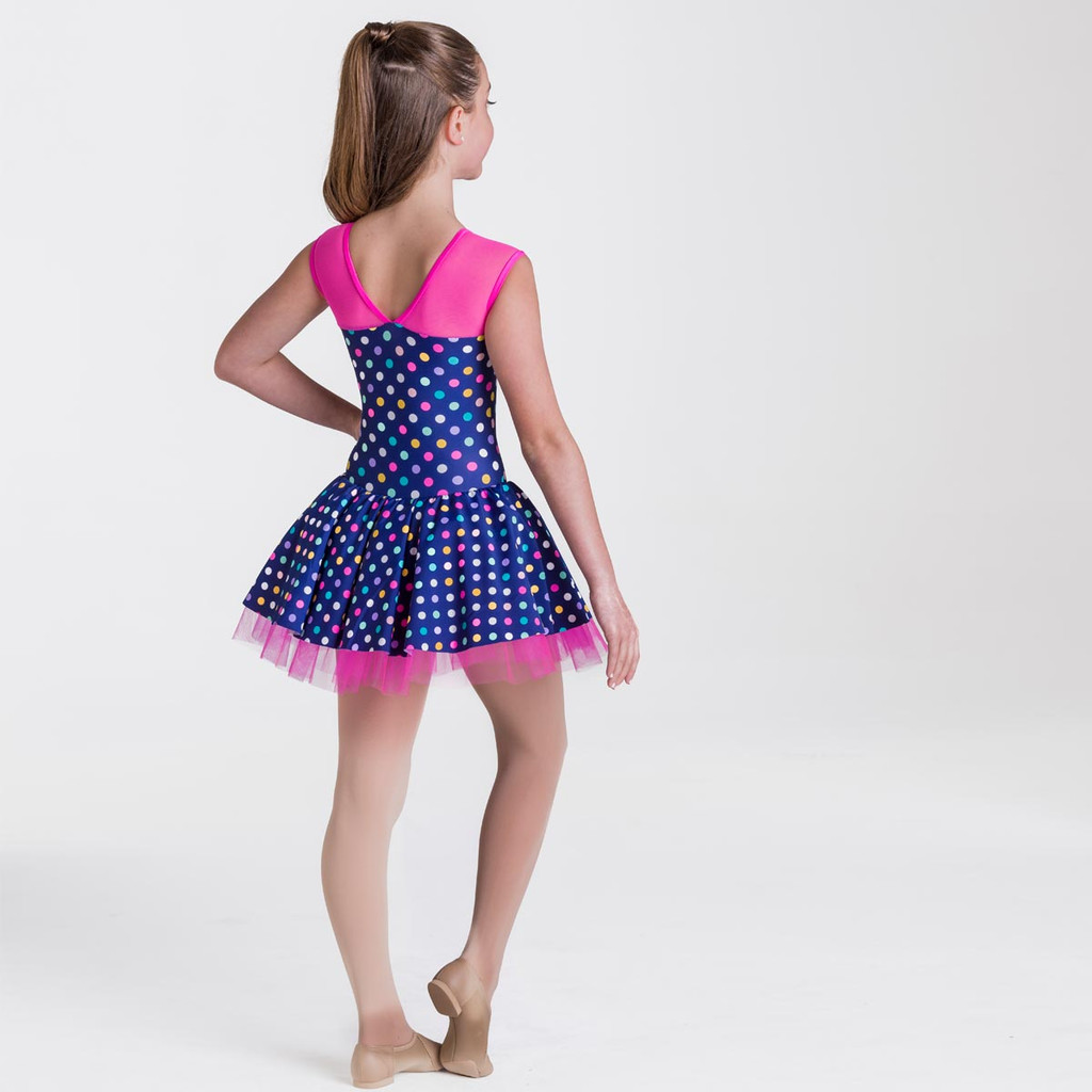 Studio 7 Dancewear Polka Dot Dress Girls Navy