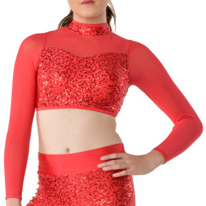 Studio 7 Dancewear Down Town Long Sleeve Crop Top - Ladies