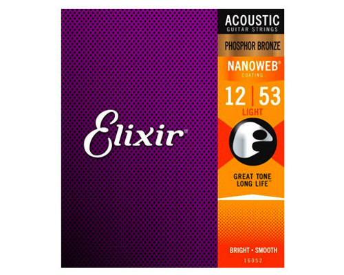 Elixir Strings 16052 Nanoweb Phosphor Bronze Acoustic Guitar Strings .012-.053 Light