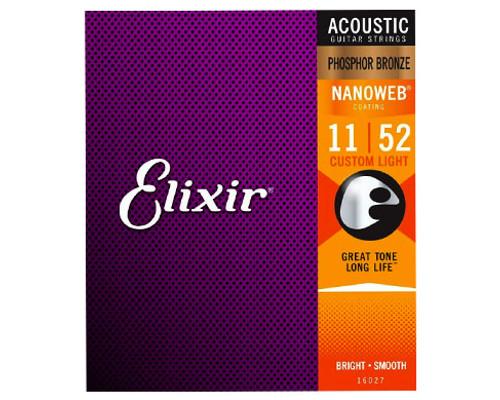 Elixir Strings 16027 Nanoweb Phosphor Bronze Acoustic Guitar Strings .011-.052 Light