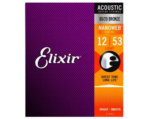 Elixir Strings 11052 Nanoweb 80/20 Acoustic Guitar Strings .012-.053 Light Acoustic Guitar Strings