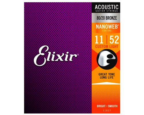 Elixir Strings 11027 Nanoweb 80/20 Acoustic Guitar Strings .011-.052 Custom Light Acoustic Guitar Strings