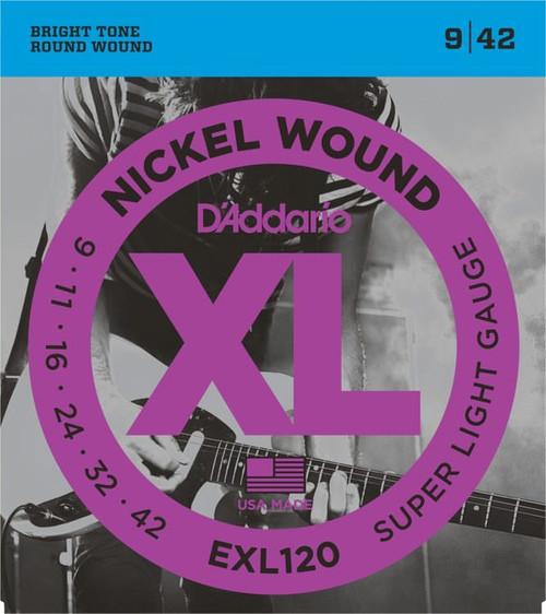 D'addario EXL120 Nickel Wound Super Light 09-42  (3 PACKS)