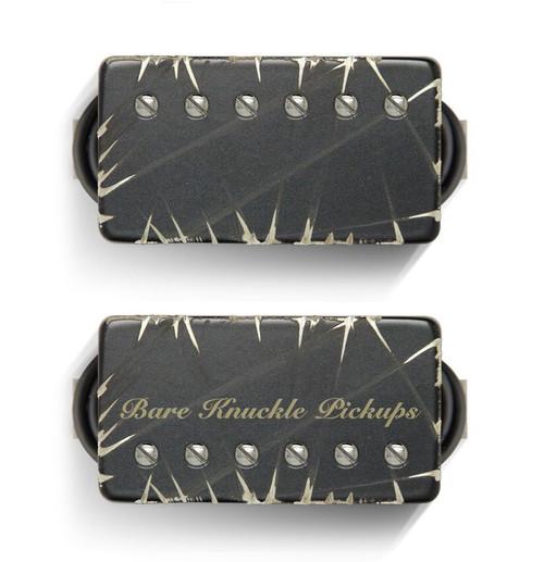 Bare Knuckle 6 ST Painkiller Calibrated Covered SET BLACK BATTLEWORN - Nickel Screws - Bridge 53MM Spacing - Bridge BKP ETCHED