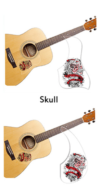 Healing Shield Acoustic Guitar Pickguard - Skull A