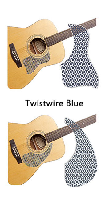 Healing Shield Acoustic Guitar Pickguard - Twistwire Blue