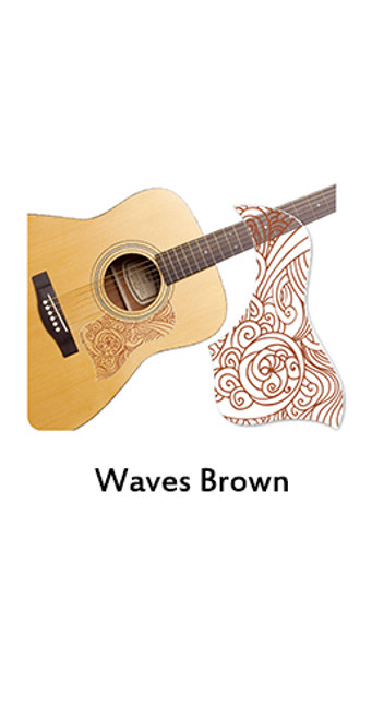 Healing Shield Acoustic Guitar Pickguard - Wave Brown