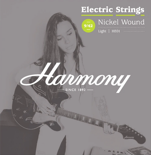Harmony HE01 Nickel Electric Guitar Strings, Light, 9-42