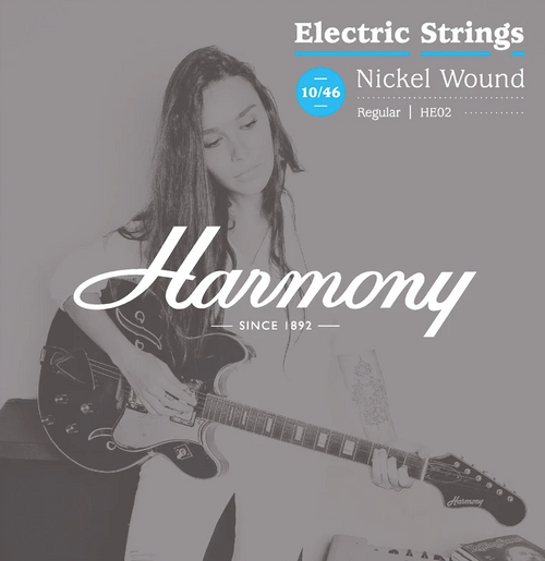 Harmony HE02 Nickel Electric Guitar Strings, Regular, 10-46