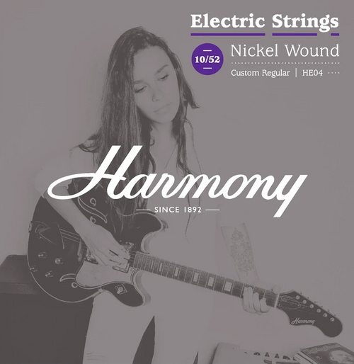 Harmony HE04 Nickel Electric Guitar Strings, Custom Regular, 10/52