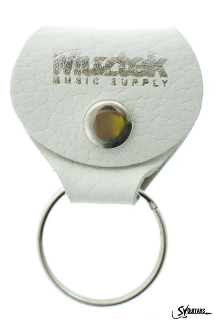 Muztek Leather Keychain Pick Holder w/Pick WHITE