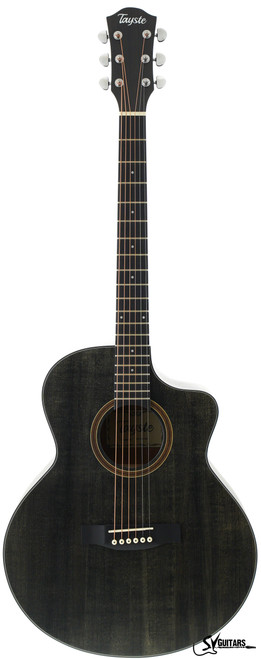 "Tayste TS-23-40 40"" Matt Black Grand Auditorium Size Acoustic Guitar Cutaway"