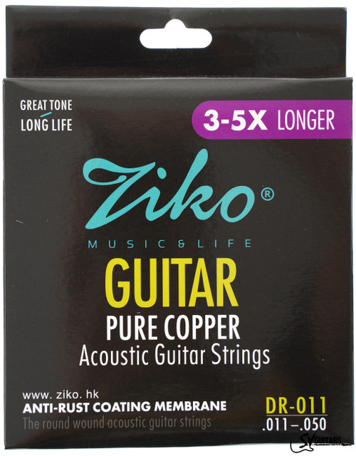 Ziko DR-011 11-50 Coated Pure Copper Acoustic Guitar Strings