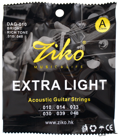 Ziko DAG-010 10-48 Extra Light Acoustic Guitar Strings