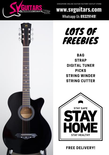 Moly AG-38BK Black Acoustic Guitar w/Freebies