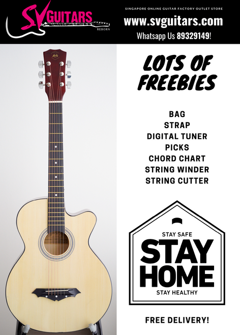 Moly AG-38NA Natural Acoustic Guitar w/Freebies