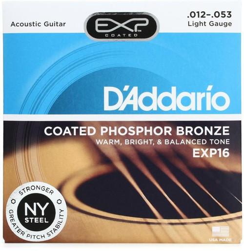 D'Addario EXP16 Coated Phosphor Bronze Custom Light Acoustic Strings, 12-53