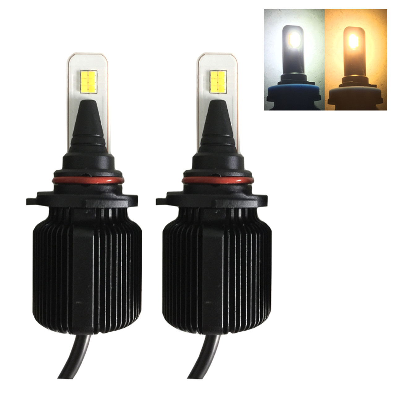H10 (H12, 9005, 9140, 9145, 9155) M1D 8000lm 40W LED kit with DUAL COLOR  LED, fanless w/external LED driver - NEW!