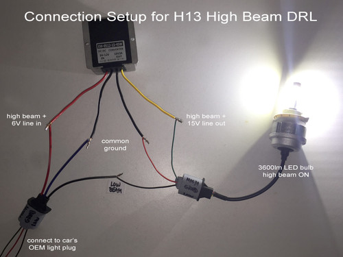 Voltage Booster 6V to 15V for HID or LED kits requiring full voltage in DRL  mode