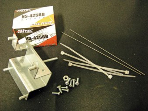 """Parts in the Just the Guts Kit:  Servo, Servo / ST-400 mounting bracket, 4 - #4 screws, 4 - #6 screws, 1 - #8 nut, 4 - wire ties, & 2 6"""" pieces of piano wire."""