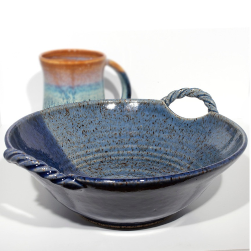 Twisted Handle Bowl - Blue