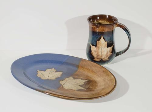 Leaf Platter - Blue/Brown