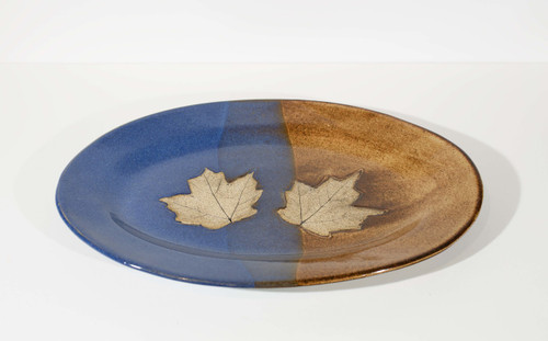Leaf Platter - Blue/Brown