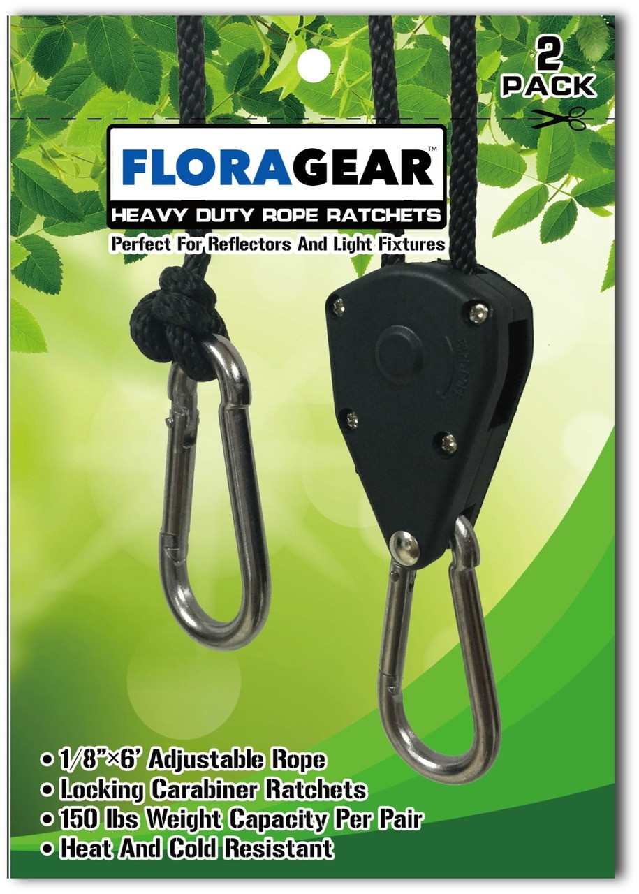 Pack of 2 ratchets ideal for hanging FLORA X™ Series Full Spectrum LED Grow Light Systems and virtually all other lighting brands and types (150 lbs. per pair max).