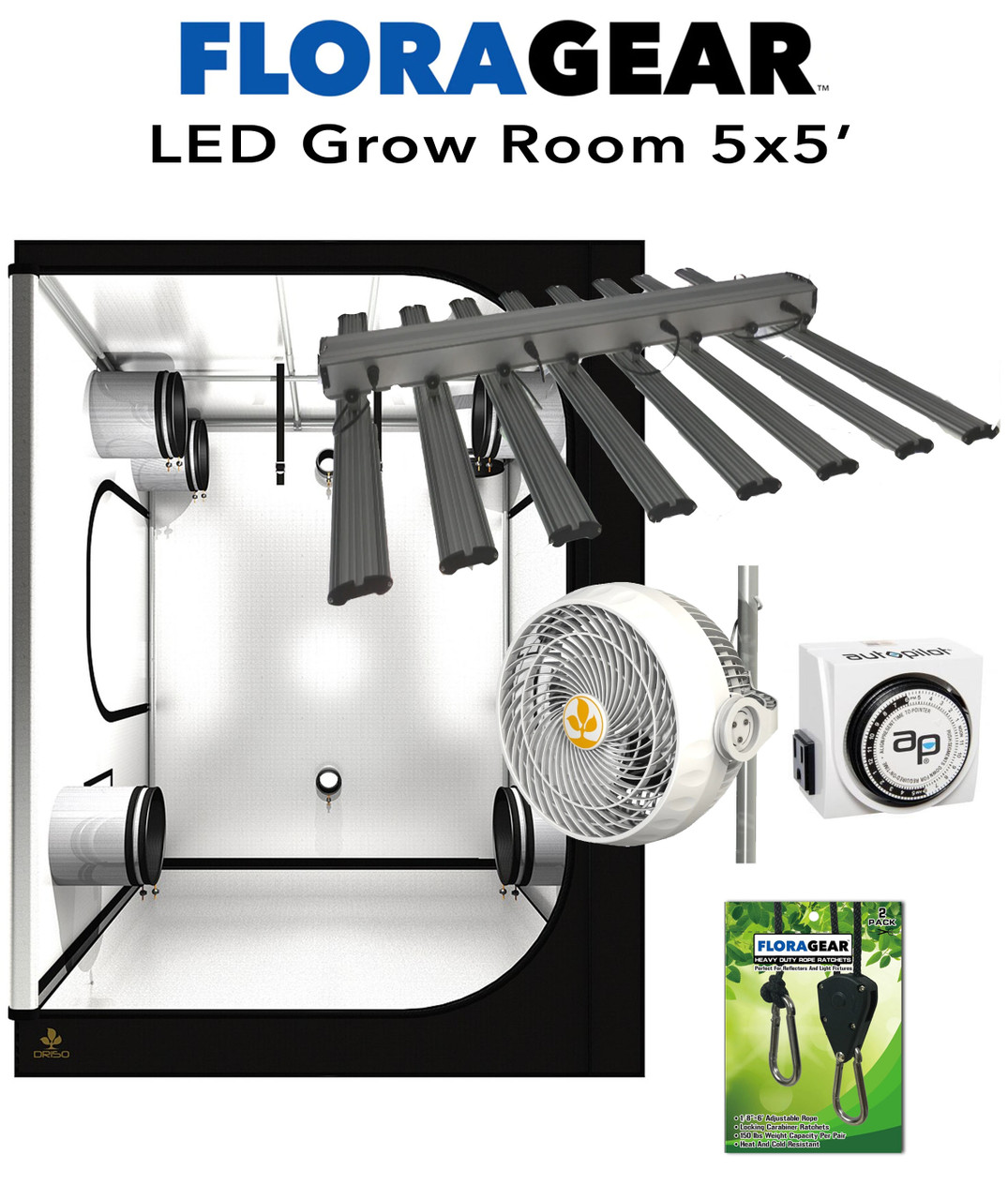 FloraGear 5'x5' LED Grow Room Kit