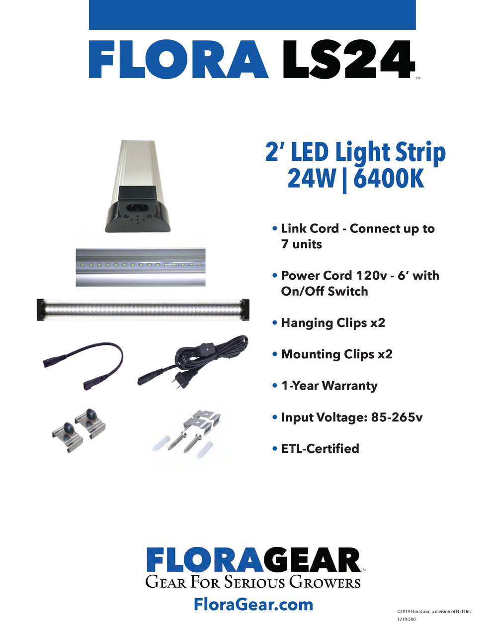 FloraGear Flora LS24 LED Light Strip 6400k 24w - specs