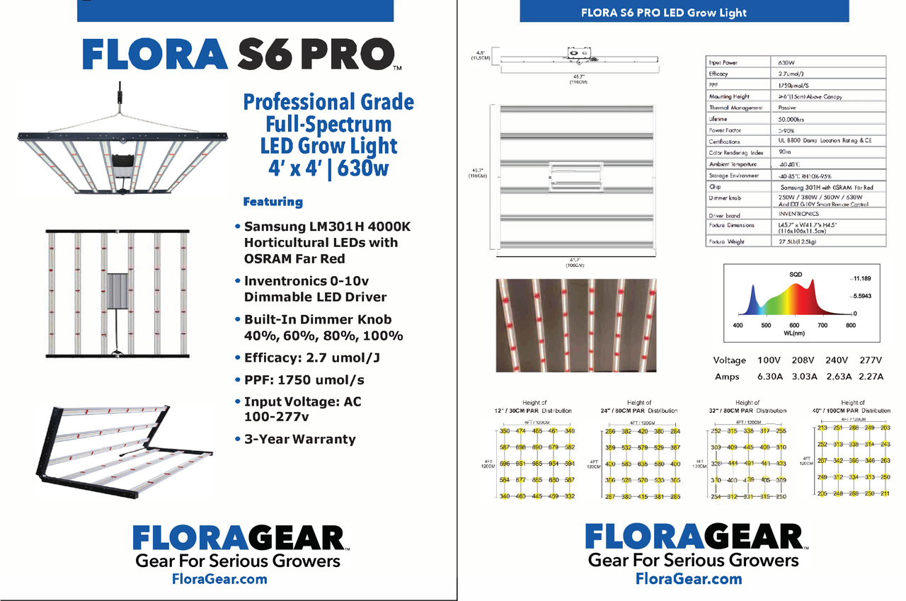 FLORA S6 PRO™ 630w Full-Spectrum LED Grow Light with Built-In Dimmer light - Specifications