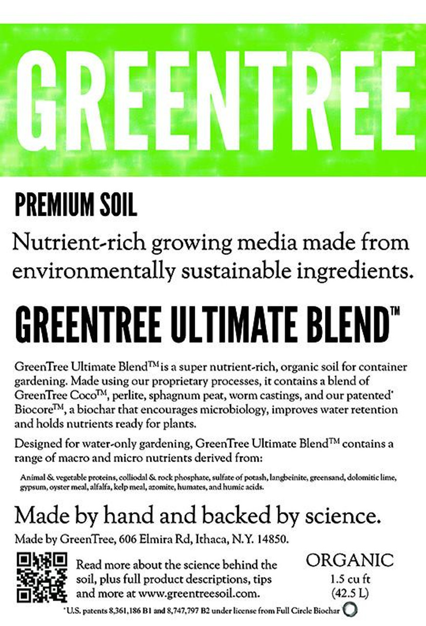 Label - GreenTree Ultimate Blend Organic Soil - Bloom Formula. New England Hydroponics | neHydro.co