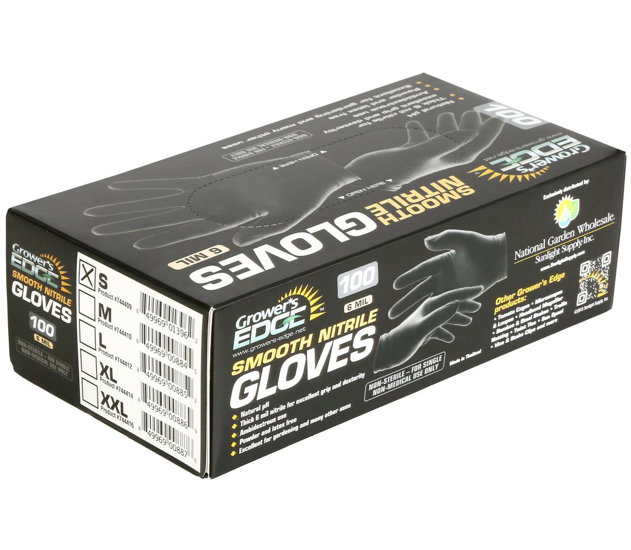 Grower's Edge Black Powder Free Nitrile Gloves 6 mil 100ct