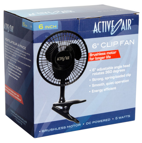 "Active Air Black 6"" Clip On Fan nehydro.com"