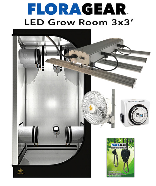 FloraGear Flora 4Xs & Secret Jardin Dark Room V3.0 DR090 3'x3' LED Grow Room Kit nehydro.com